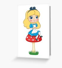 Alice in Wonderland Sitting on Mushroom Illustration Greeting Card