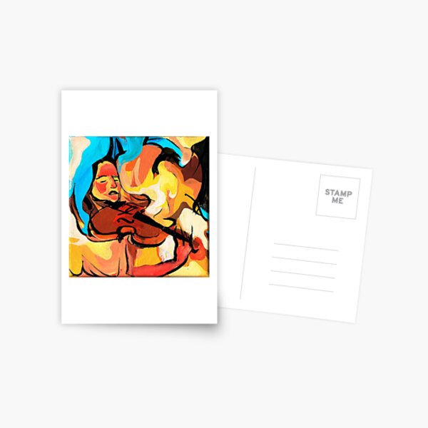 Violin Player Painting Postcard