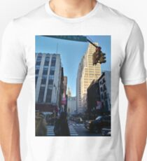 Street, City, Buildings, Photo, Day, Trees, New York, Manhattan Unisex T-Shirt