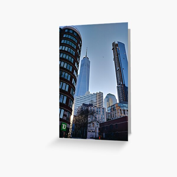 Street, City, Buildings, Photo, Day, Trees, New York, Manhattan Greeting Card