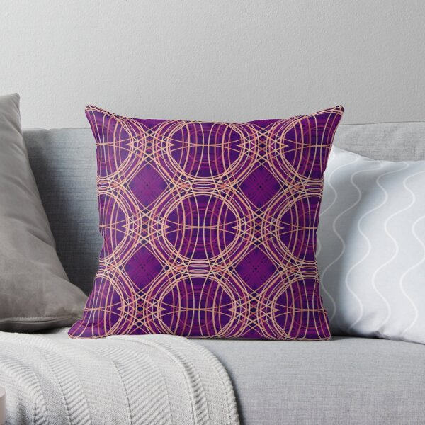 Tartan Mess - Purple Throw Pillow