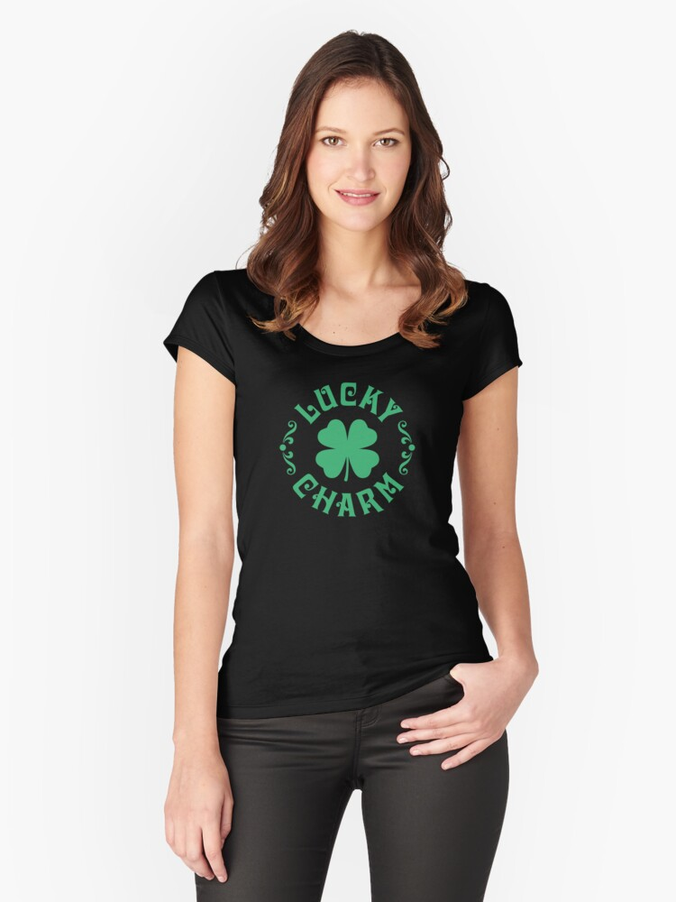 Cute Lucky Charm St. Patrick's Day 4-leaf Shamrock Women's Fitted Scoop T-Shirt Front