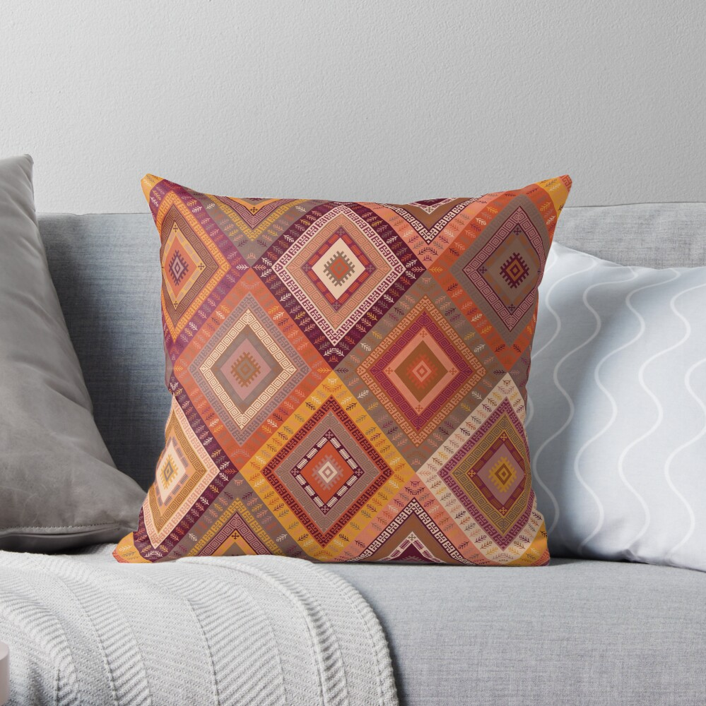 Kilim Diamonds - Apricot Throw Pillow