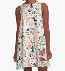 Fabel mit Blumen A-Linien Kleid
