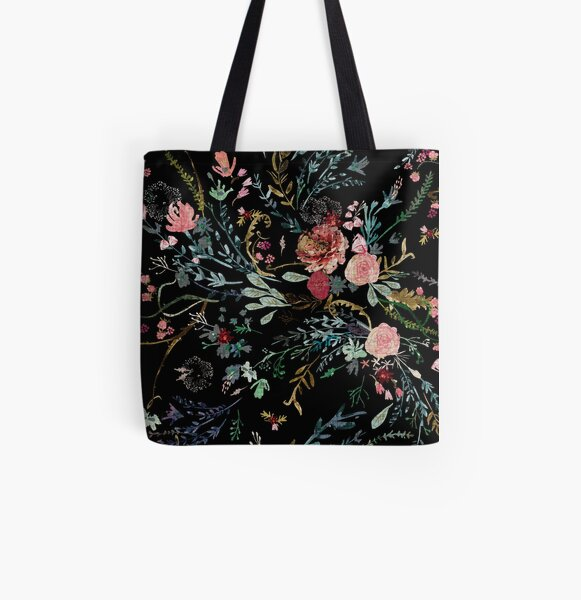 Midnight Floral All Over Print Tote Bag