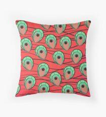 Peacock Ankara Faux African Wax Print - Red Throw Pillow