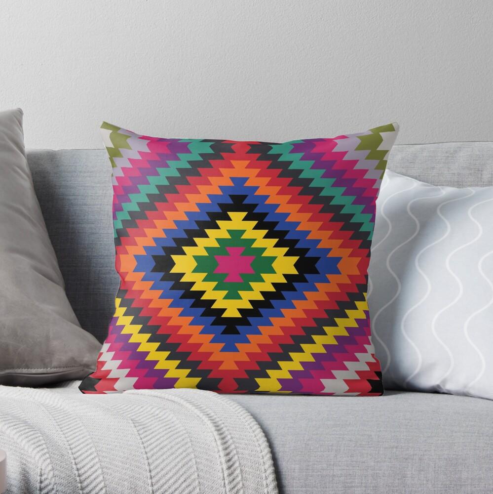 Modern Kilim - Bright Geometric pattern by Cecca Designs Throw Pillow