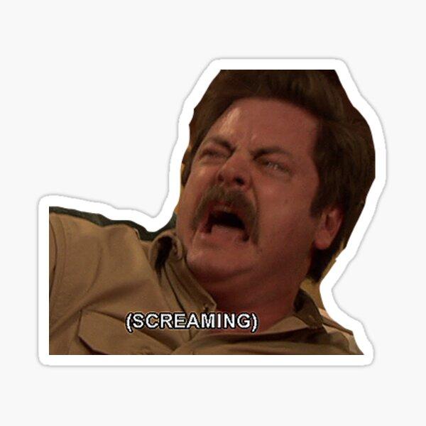 Ron Swanson Scream Sticker