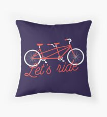 Let's Ride Tandem Bike Illustration - Red Throw Pillow