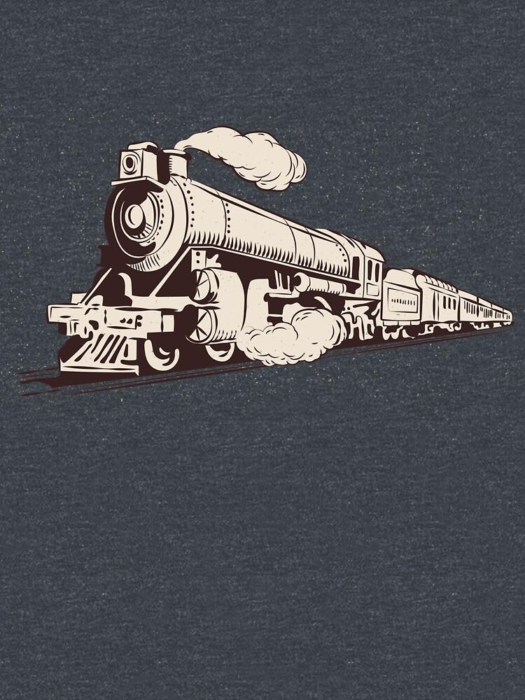 Vintage train steam locomotive railroad railway retro graphic design like Sheldon's by HEJAshirts