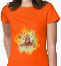 Kitty cat playing in a pile of leaves. Autumn Womens Fitted T-Shirt