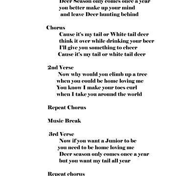 lyrics Deer Season art print by jjjcccart