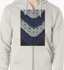 Layered Granny Squares and Chevron Stripes Zipped Hoodie