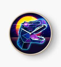 Electric Jurassic Rex - Neon Purple Dinosaur  Clock