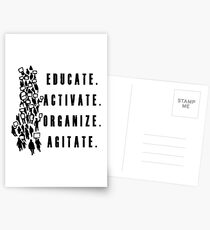 Educate. Activate. Organize. Agitate. - Activist Protesters Marching Postcards