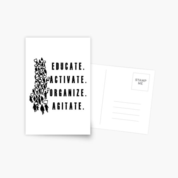 Educate. Activate. Organize. Agitate. - Activist Protesters Marching Postcard