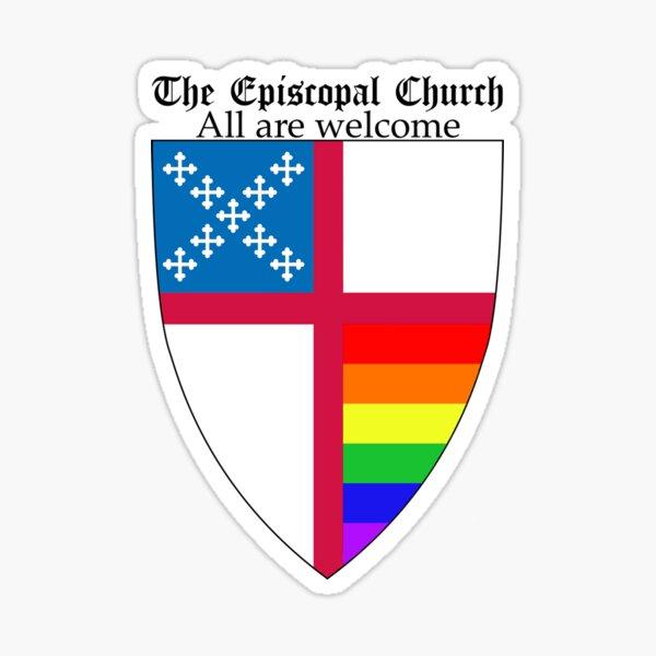 Episcopal Church Shield with Rainbow Pride Horizontal Stripes 1 Sticker