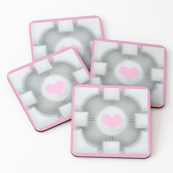 Weighted Companion Cube (Portal 2) Coasters (Set of 4)