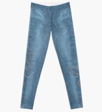 Diamond Princess Faded Denim Jeans Leggings
