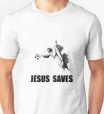 Jesus rettet Fußball Unisex T-Shirt