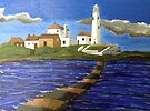 244 - STYLISED ST. MARY'S ISLAND, WHITLEY BAY - DAVE EDWARDS - ACRYLIC - 2009 by BLYTHART