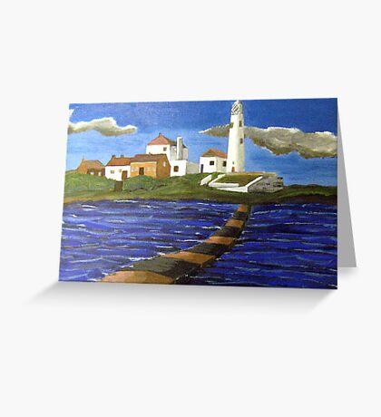 244 - STYLISED ST. MARY'S ISLAND, WHITLEY BAY - DAVE EDWARDS - ACRYLIC - 2009 Greeting Card