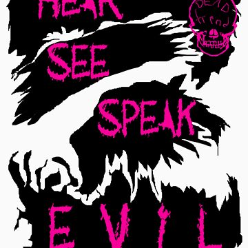 Hear See Speak evil Purple Text by RazorbladeTrend