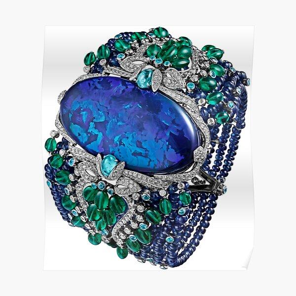 HIGH JEWELRY BRACELET ... Platinum, opal, sapphires, emeralds, Paraiba tourmalines Poster