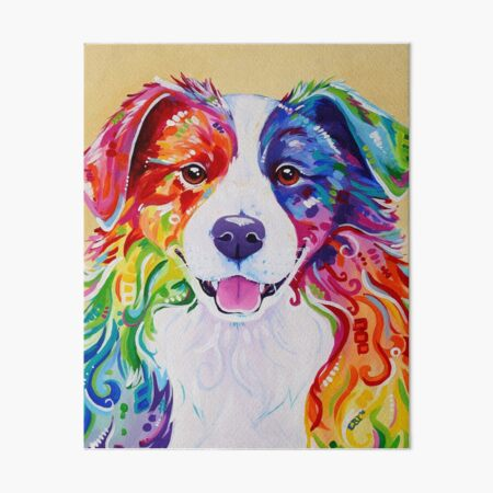 """Toby"" - Rainbow Border Collie Art Board Print"