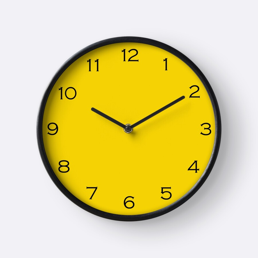 Quot Black Numbers On Yellow Wall Clock Quot Clocks By