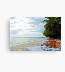 Restaurant in Maldives on the beach Canvas Print