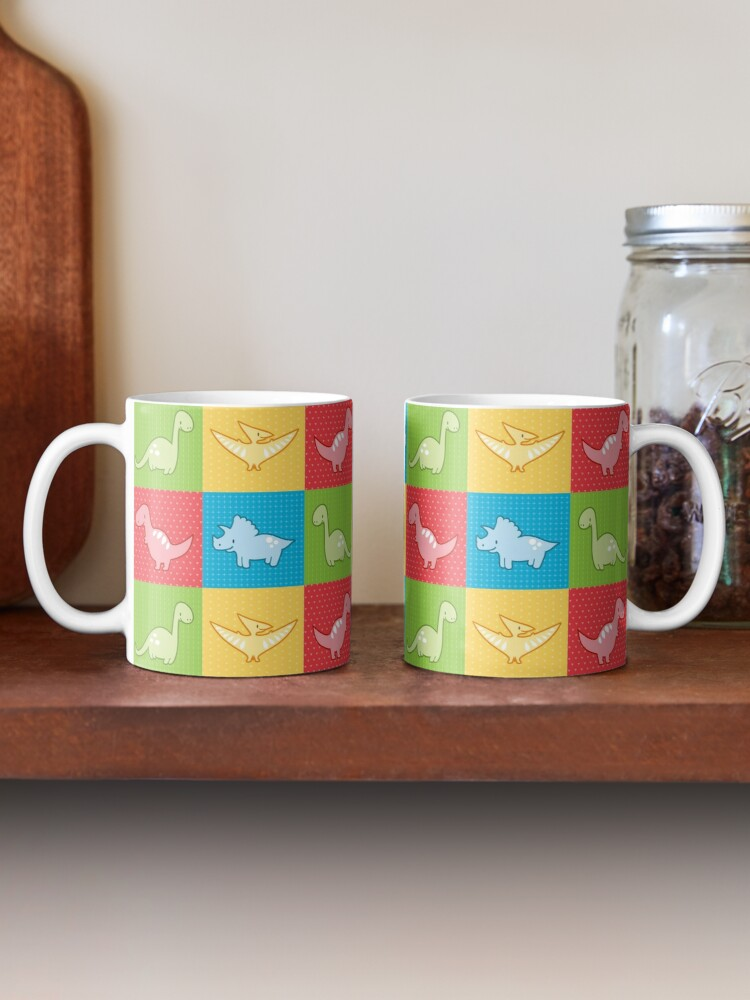 Alternate view of Colorful dinosaurs and pterodactyl cheater quilt Mug