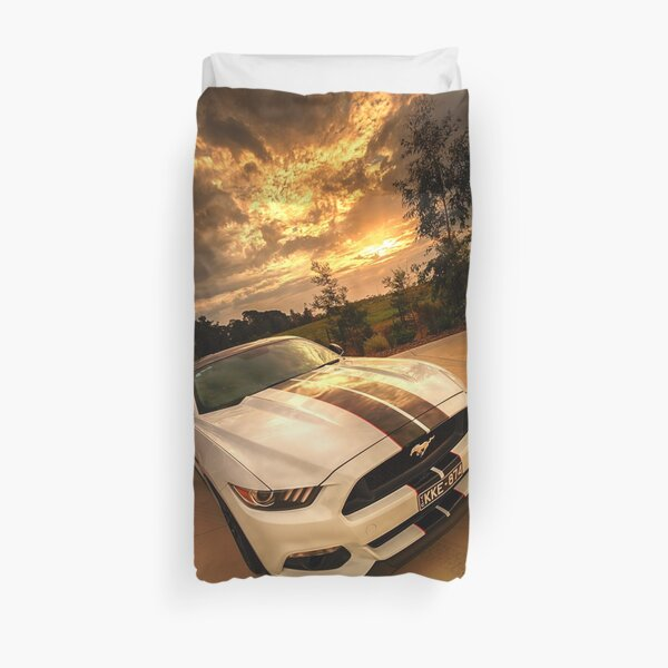 A Ford Mustang sunset Duvet Cover