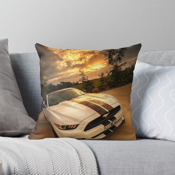 A Ford Mustang sunset Throw Pillow