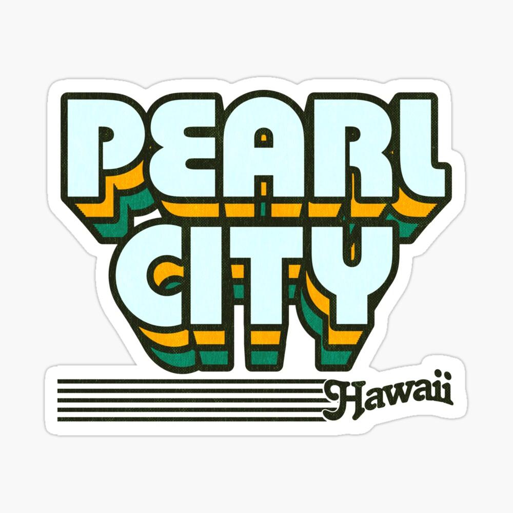 Pearl City, Hawaii | Retro Stripes Sticker