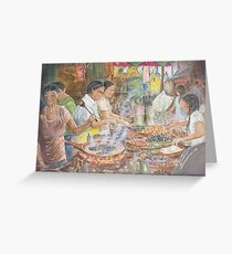 Food Stall in Chiang Mai, Thailand, watercolour by Paul Sagoo Greeting Card