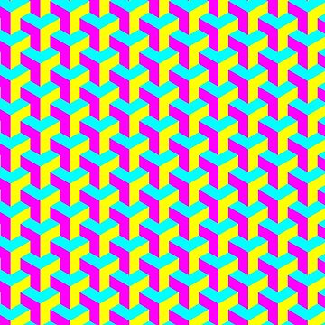 CMYK Cube Pattern by PinkFoxDesigns