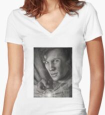 Doctor Who digital sketch Women's Fitted V-Neck T-Shirt