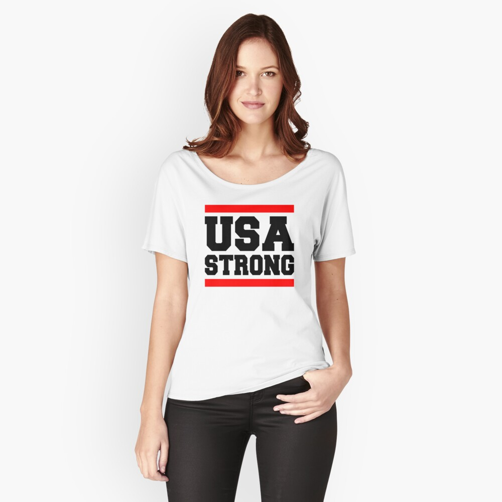 USA STRONG VEGAS BOSTON NEWYORK Women's Relaxed Fit T-Shirt Front