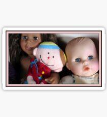 three lovely dolls Sticker