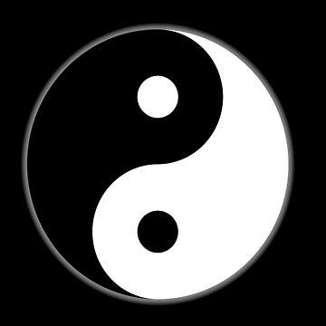 Yin Yang, inverted, Chinese, China, symbol, Tai Chi, Martial Art, MMA, on BLACK by TOMSREDBUBBLE