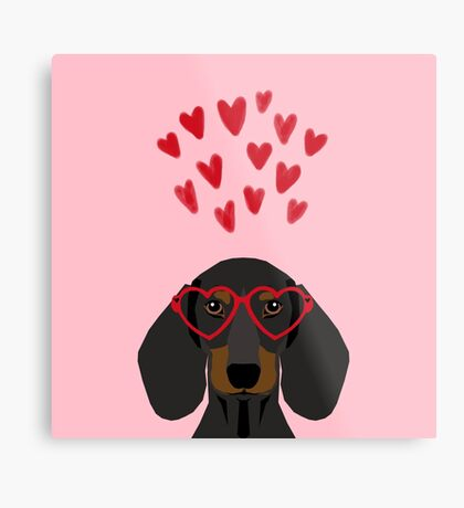 Dachshund dog breed pet art valentines day doxie must haves Metal Print