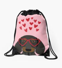 Dachshund dog breed pet art valentines day doxie must haves Drawstring Bag