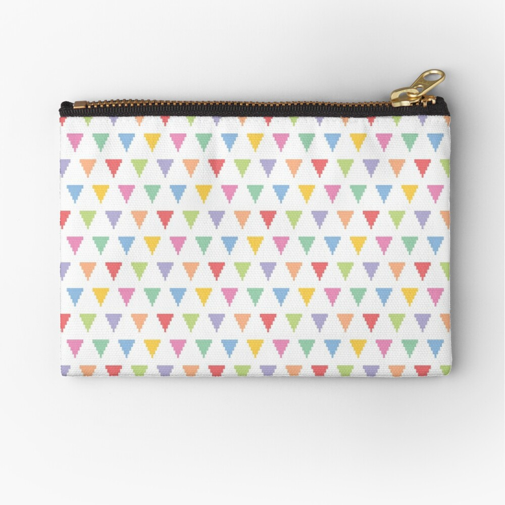 Rainbow of pixelated triangles Zipper Pouch