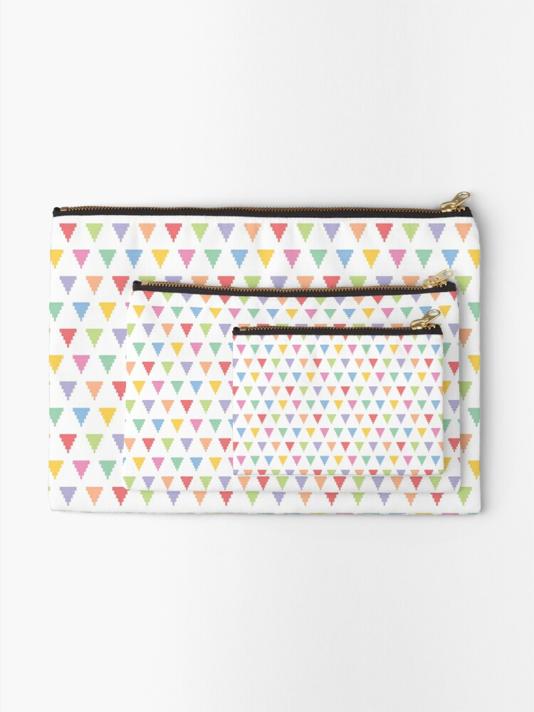 Alternate view of Rainbow of pixelated triangles Zipper Pouch