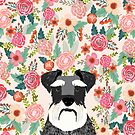 Schnauzer dog head floral background flower schnauzers pet portrait by PetFriendly
