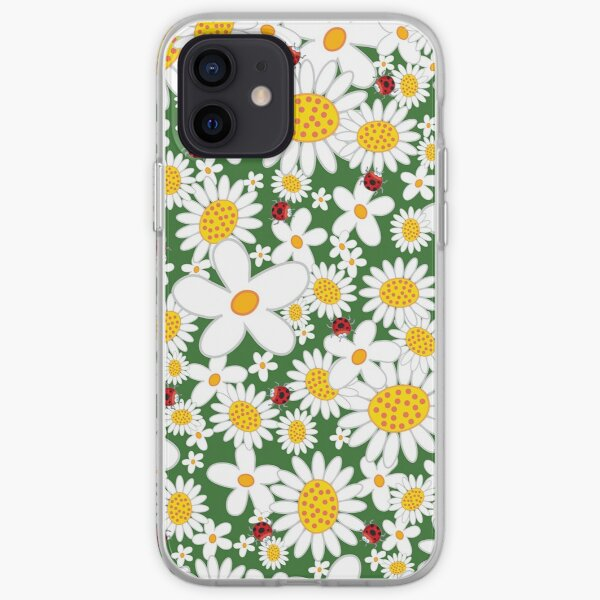 Whimsical Summer White Daisies and Red Ladybugs iPhone Soft Case