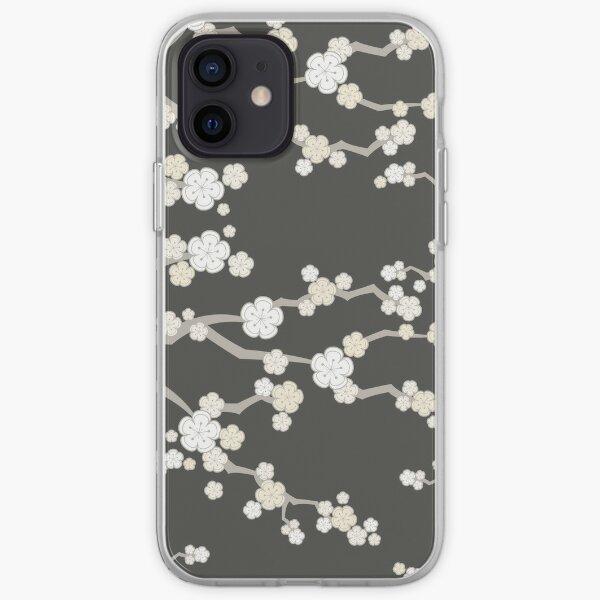 White Oriental Cherry Blossoms On Charcoal | Zen Japanese Sakura Flowers iPhone Soft Case