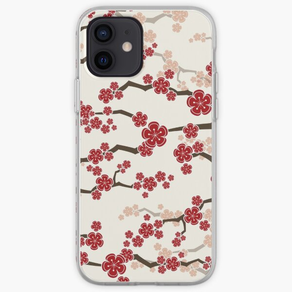 Red Oriental Cherry Blossoms On Ivory | Zen Japanese Sakura Flowers iPhone Soft Case