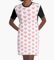 Repeating Heart Design Graphic T-Shirt Dress